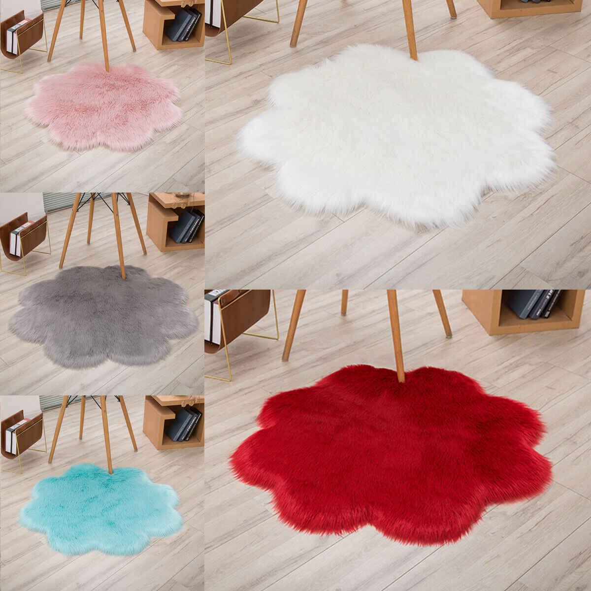 Flower Fluffy Rug Anti-Skid Shaggy Dining Room Bedroom Carpet Floor Comfortable Shaped Shaggy Hairy Carpet Floor Mat Home Decor
