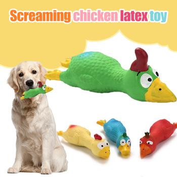 2 sztuk wrzeszczący kurczak lateksowe zabawki wokal Cartoon zwierząt gryzienie odporność przyjazny dla ząbkujących szczeniąt zabawki DC120 tanie i dobre opinie Szkolenia Clickers Other