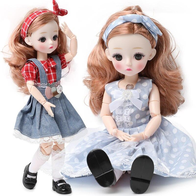 2020 Новинка 12 дюймов 22 подвижные суставы BJD кукла 30 см 1/6 макияж одеваются милые длинные волосы куклы с модным платьем для девочек игрушки|Куклы|   | АлиЭкспресс