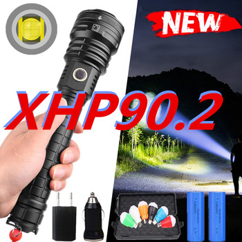 600000LM led flashlight XHP90.2 Flashlight power 26650 18650 battery powerful Tactical Flash light torch for outdoor hunting image