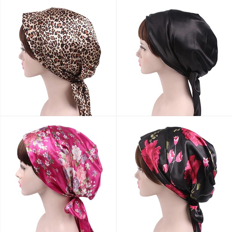 Women Soft Silk Satin Bonnet Salon Bonnet Beanie Night Hair Hat For Natural Curly Hair Night Sleep Cap Braids Head Cover Wrap