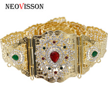 NEOVISSON Rhinestone Metal Waist Belt For Women Morocco Caftan Belly Chain Gold Silver Color Body Jewelry Adjustable Length 2019 crystal studded wide waist chain adjustable length roman wedding jewelry luxurious women gold color rhinestone belly chains belt
