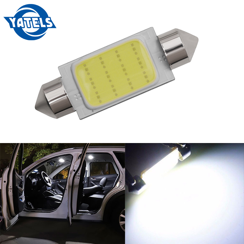 1 PCS 31mm 36mm 39mm 41mm 12V C5W Car COB LED Light Reading Dome Map Bulb Xenon White Double Point COB LED Reading Light