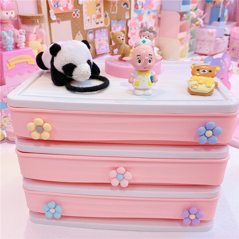 Pink Flower Desktop Drawer Storage Box Cosmetics Storage Organizer Sundries Holder Home Office Storage Box
