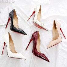 2021 mulheres bombas vermelhas sapatos nude/preto apontou toe sexy salto alto sapatos stiletto salto alto senhoras bombas 12 10 8 cm tamanho aarge 44