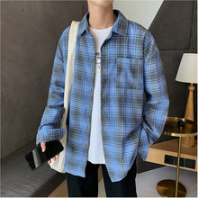 2019 Autumn And Winter Men's New Casual Contrast Color Plaid Pocket Decoration Single-breasted Shirt Loose Temperament Cotton stripe and plaid contrast hidden pocket longline dress