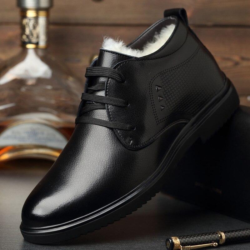 2019 nova moda homens trabalhar botas de couro frio inverno quente botas de neve dos homens sapatos de couro genuíno de lã botas de algodão calçado masculino - 6