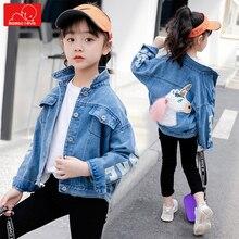 autumn spring girls denim jacket fashion children  jean coat cute kids overcoat child clothing outerwear недорого