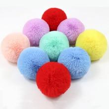 Real Rex Rabbit Fur Ball 6cm Pompom Car Pompon Rabbit Fur Ball for Keychain Fur DIY Bag Charms with Fluffy Bunny Ponpones