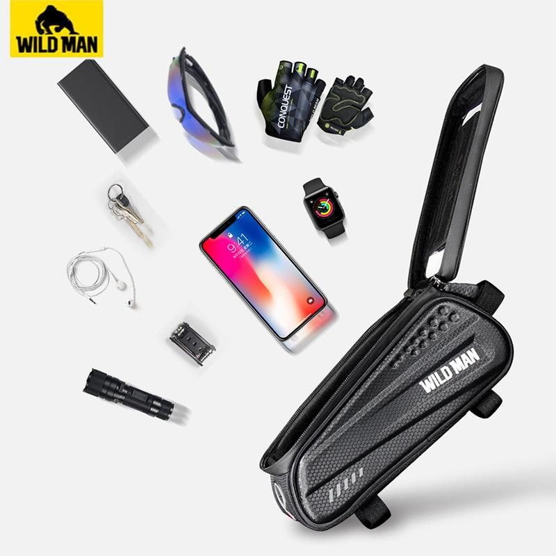 "Купить с кэшбэком WILD MAN Hard Shell Bicycle Bag 6.2"" Reflective Rainproof Touch Screen Phone Case Bag Bike Top Tube Bag Cycling Accessories"
