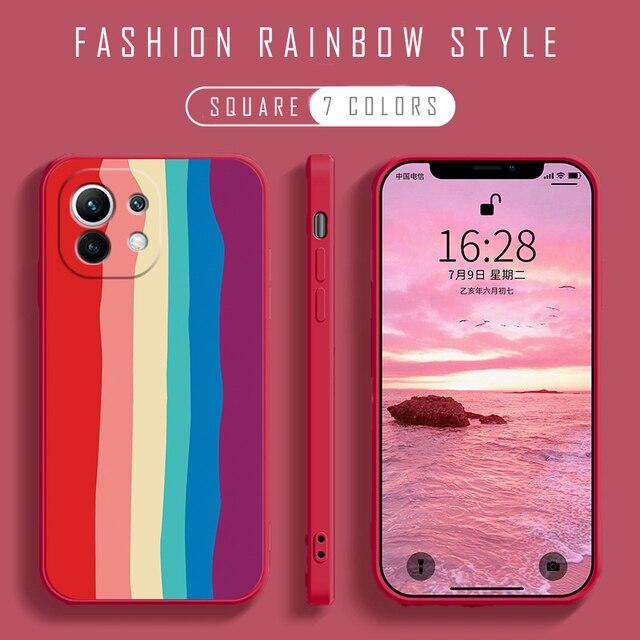 Soft Liquid Silicone Phone Case For Xiaomi Mi 11 Ultra 10 9 Lite 9T Poco F2 Redmi 9T Note 10 9S 10S 9 Pro Protect Rainbow Cover