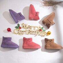 Women Snow Boots Genuine Leather Flock Winter Warmer Plush Female Flat Ankle Slip On Fashion Platform женские сапоги X141