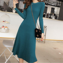 Korean Sweater Dress Women Knitted Dresses Fashion Woman Pullovers Sweaters High Waist Pleated Elegant Thick