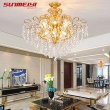 Скандинавский потолочный светильник s Золотой хрустальный светильник для гостиной кухни обеденный стол для детской комнаты современный светодиодный потолочный светильник для коридора