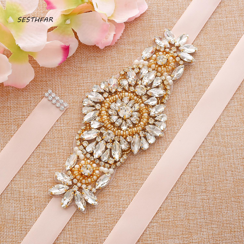 Gold Luxurious Rhinestones Satin Ribbons Bridal Belt Sash Crystal Wedding Belt  For Women Dresses J211G