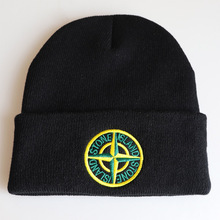 Embroidery Knitted Skullies Beanie Hats Solid Warm Hat Hip-H