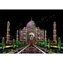 Magic Scraping Painting Toys 1 Set Taj Mahal Scratch Painting Drawing Paper Colorful