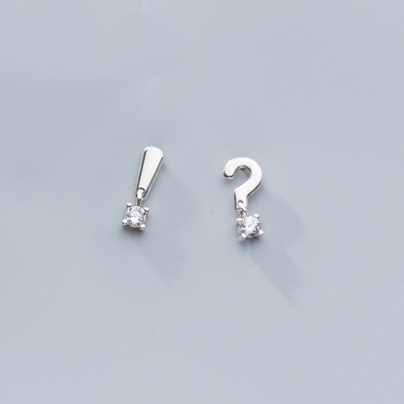 MloveAcc Delicate 100% 925 Sterling Silver Dazzling Clear CZ Semicolon And Question Mark Stud Earrings Women Wedding Jewelry Bri