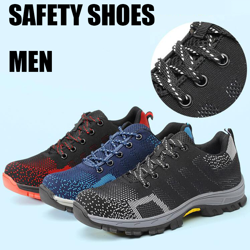 Mens Safety Shoes With Steel Toe Cap Puncture-proof Breathable Lightweight Fashion Work Shoes Women Security Protection Footwear