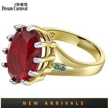 DreamCarnival1989 Big Lovely Red Zircon Solitaire Wedding Rings for Woman Delicate Cutting Dazzling Hot Bridal Jewelry WA11876RD