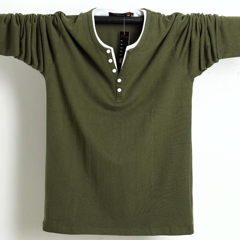 2021 Autumn Men T Shirt Button Big Tall Cotton Long Sleeve T Shirts Men Big Size Casual T-Shirt Solid 5xl 6xl Fit Tee Top Male