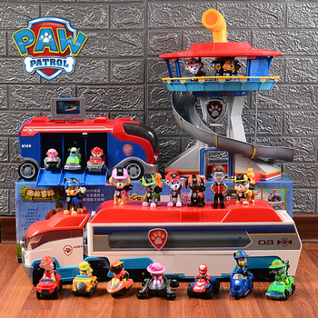 SPIN MASTER Toys Set Base Tower Rescue Bus Toy Car Combination PVC Action Figure Model Ryder Anime Figures Gifts for Children disney 8pcs set coco figures anime figurine toy miguel pvc action figure model mini decoration collectibles toys for children