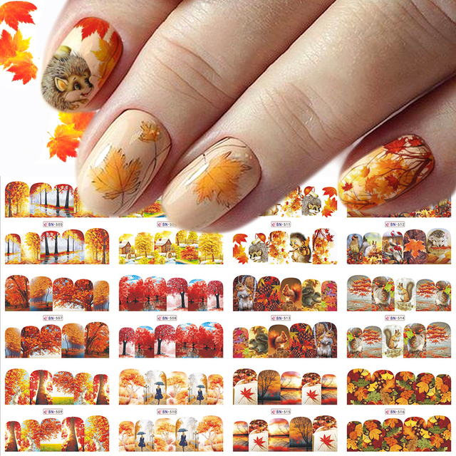 12pc Water Decals Autumn Nail Stickers Gold Maple Leaves Nail Art Sliders Sets Manicure Polish Foils Decoration Tips LABN505 516