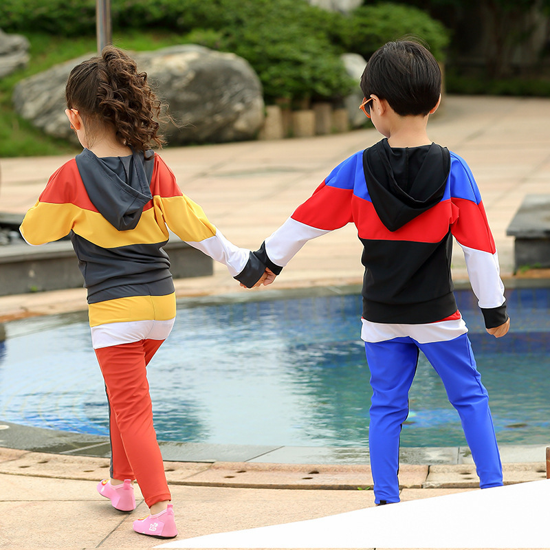 New Style KID'S Swimwear BOY'S Big Boy Long Sleeve GIRL'S Tour Bathing Suit One-piece Quick-Dry Training GIRL'S Swimsuit