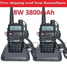 2pcs baofeng uv 5r real 8w 3800mAh battery walkie talkie for two way radio VHF UHF dual band portable cb radio comunicador рация