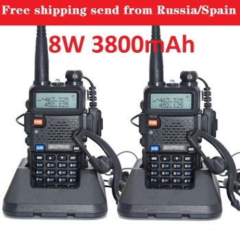 2pcs baofeng uv-5r real 8w 3800mAh battery walkie talkie for two way radio VHF UHF dual band portable cb comunicador рация - discount item  40% OFF Walkie Talkie