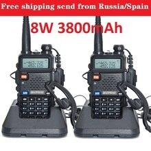 2pcs baofeng uv 5r reale 8w 3800mAh batteria walkie talkie per la radio bidirezionale VHF UHF dual band portatile cb radio comunicador рация