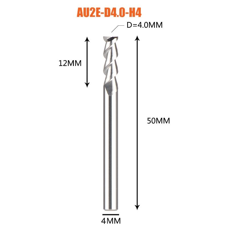 1 pc 3 флейты фрезы вольфрамового сплава концом ЧПУ фреза алюминий фреза для алюминия и деревообрабатывающие - Длина режущей кромки: 1PC-AU2E-D4.0-H4