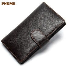 PNDME high quality genuine leather cowhide men's wallet simple vintage luxury long hasp credit card coin purses ID Holders