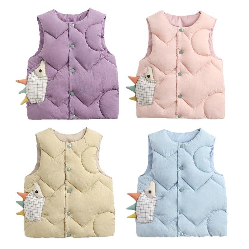 2020 Autumn Girls Warm Vest Fashion Baby Boys Thicken Waistcoat Kids Outerwear Vest Children Cartoon Down Cotton Jackets Vest 1