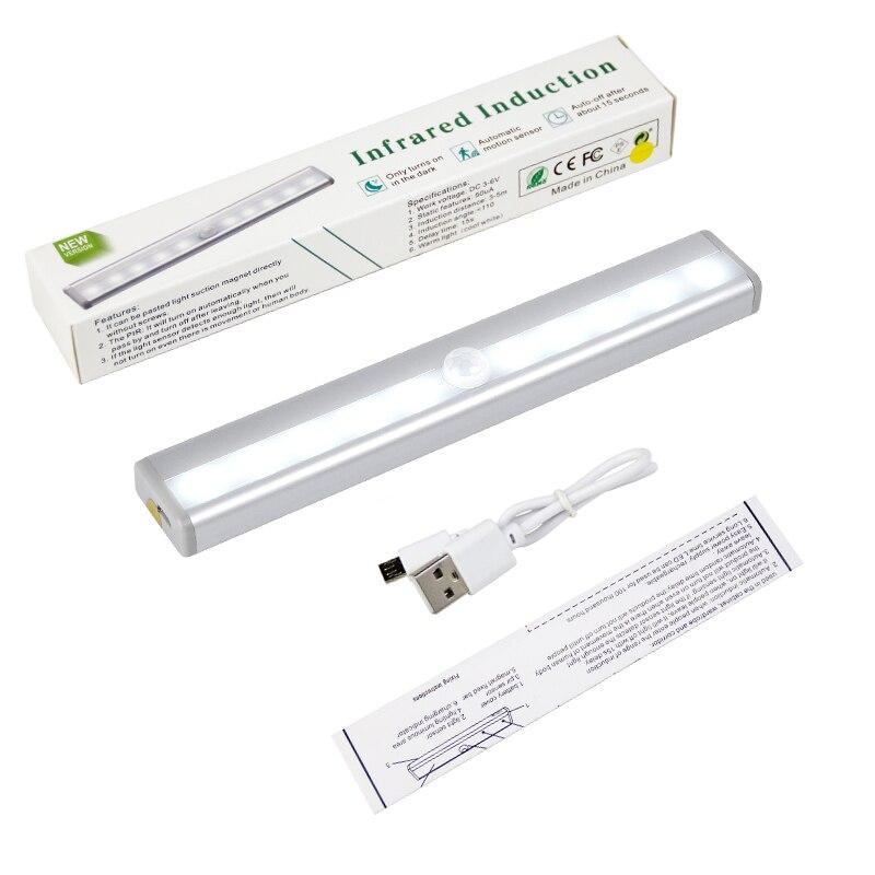 10-LED USB 充電式モーションセンサー活性化ナイト下 Wireless Led キャビネットライトワードローブのためのクローゼット食器棚