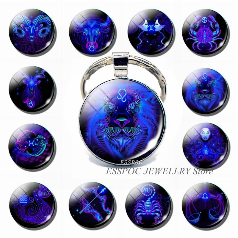 12 Constellation Zodiac Sign Photo Key Chain Leo Pendant Glass Cabochon Jewelry Fashion Keychain Car Keyring For Women Best Gift