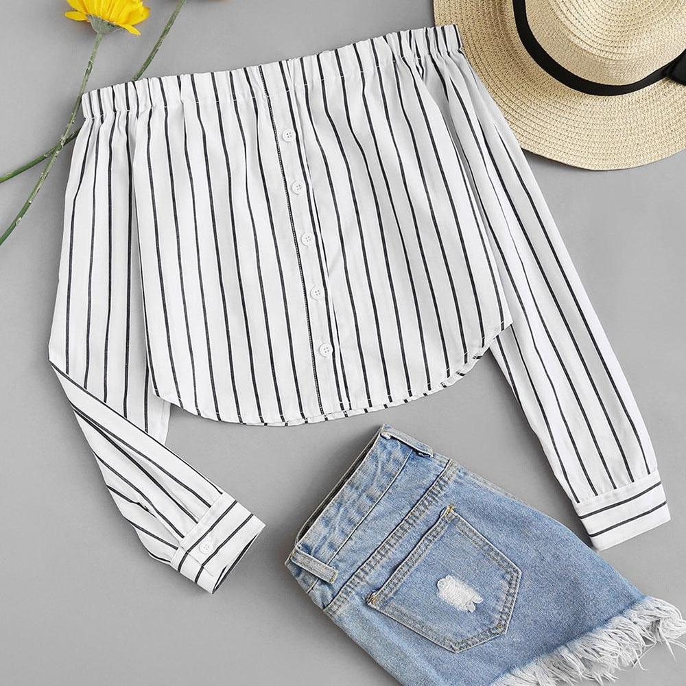 2020 Fashion Women Striped Off Shoulder Shirt Female Korean Long Sleeve Wild Blouse Chemise Femme Nouveau #YJ Blouses & Shirts  - AliExpress