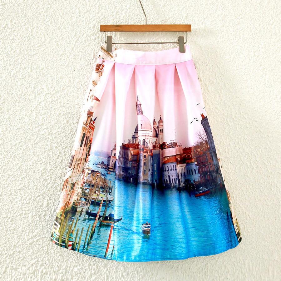 Europe And America New Style Venice Skirt High-waisted Printed Tutu A- Line Full Skirt Midi-skirt