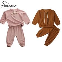 Г. Весенне-осенняя одежда для малышей Вельветовая одежда для маленьких девочек, свитер Топ, штаны, спортивный костюм комплект однотонной одежды, От 1 до 5 лет