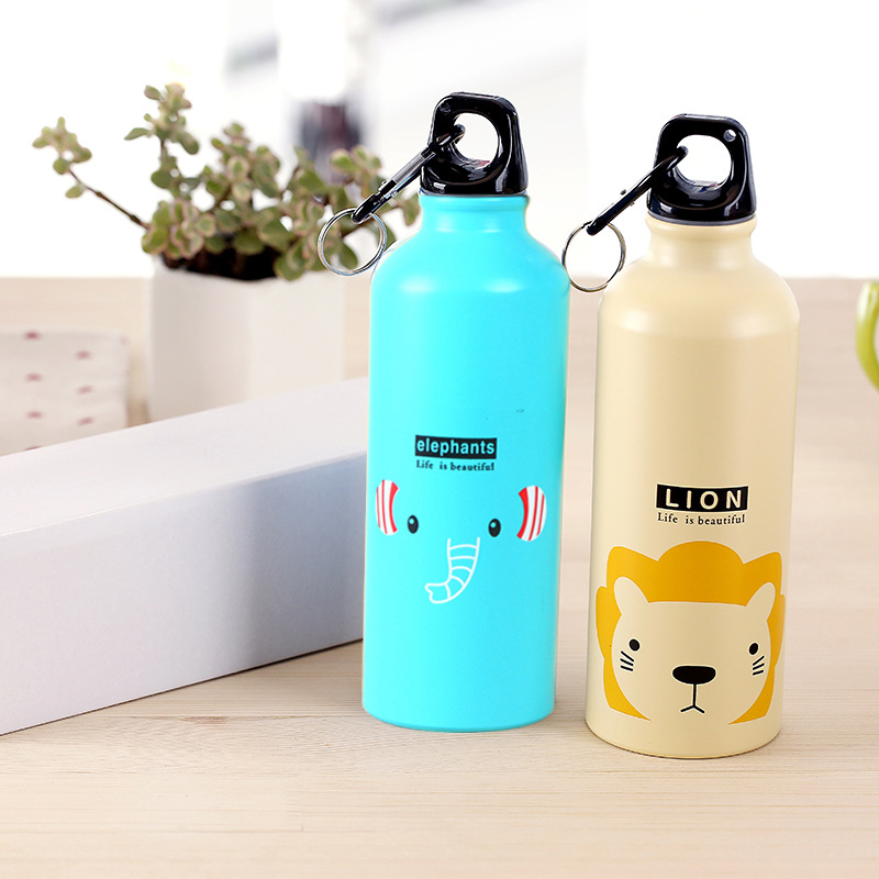 Water-Bottle Kitchen Outdoor Sport Kids 500ml Cute Animal-Pattern Hiking Gift Climbing title=