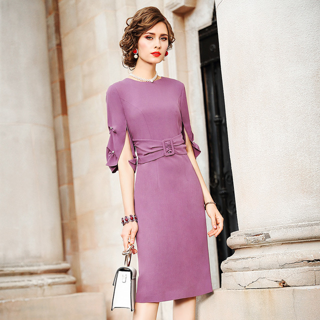 spring 2020 NEW Superior quality Work Pencil Solid dress Women Clothing autumn Party Dress plus size Vintage High waist dresses 2