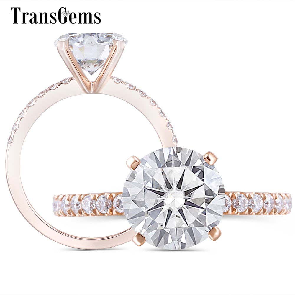 Bague de fiançailles Moissanite en or Rose 14K Center 8mm F couleur bague en diamant Moissanite pour femmes bijoux de mariage