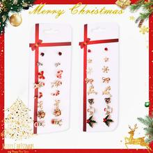 8Pairs/Set Cartoon Christmas Snowman Alloy Earrings Cute Cane Geometric Earrings Set