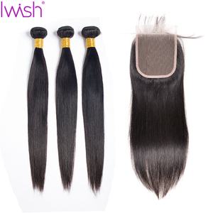 Image 1 - Malaysian Straight Hair Bundles With Closure Human Hair 3 Bundles With Closure Straight Hair With Closure Remy Hair Extension