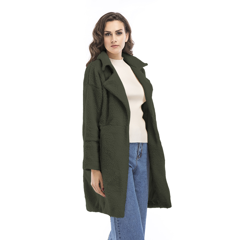 2019 autumn and winter new women's cotton jacket cashmere long-sleeved solid color long coat wool coat 12
