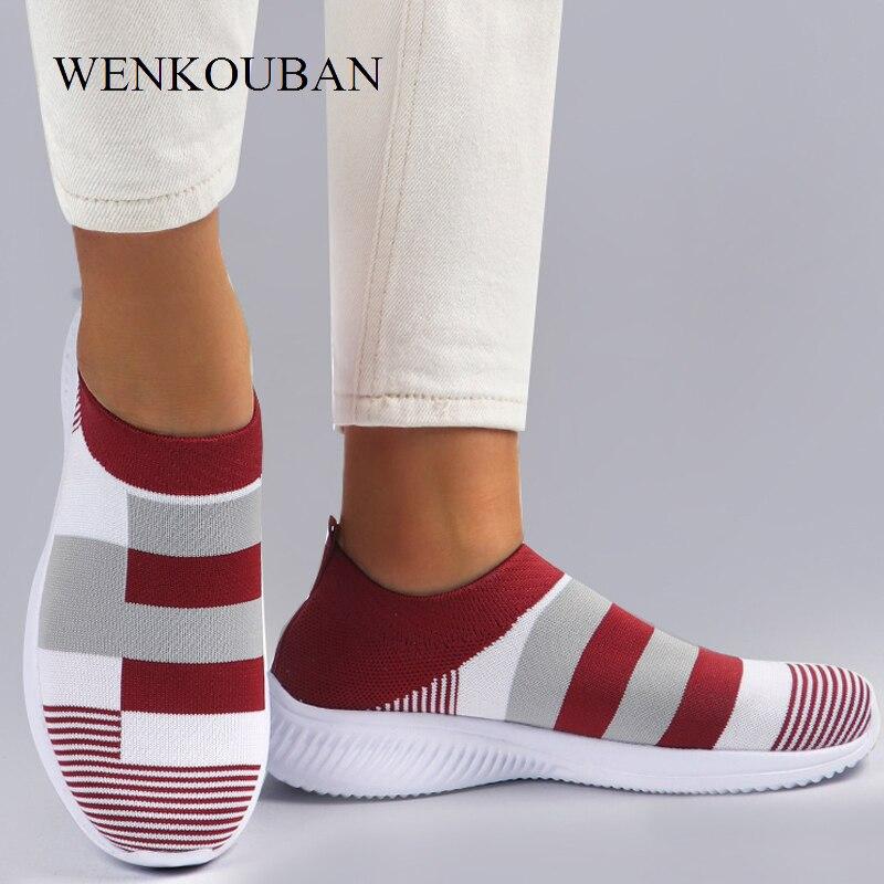 Women Vulcanized Shoes Casual Women Sneaker Shoes 2020 Female Knitted Flat Shoes Ladies Slip On Footwear Zapatos De Mujer