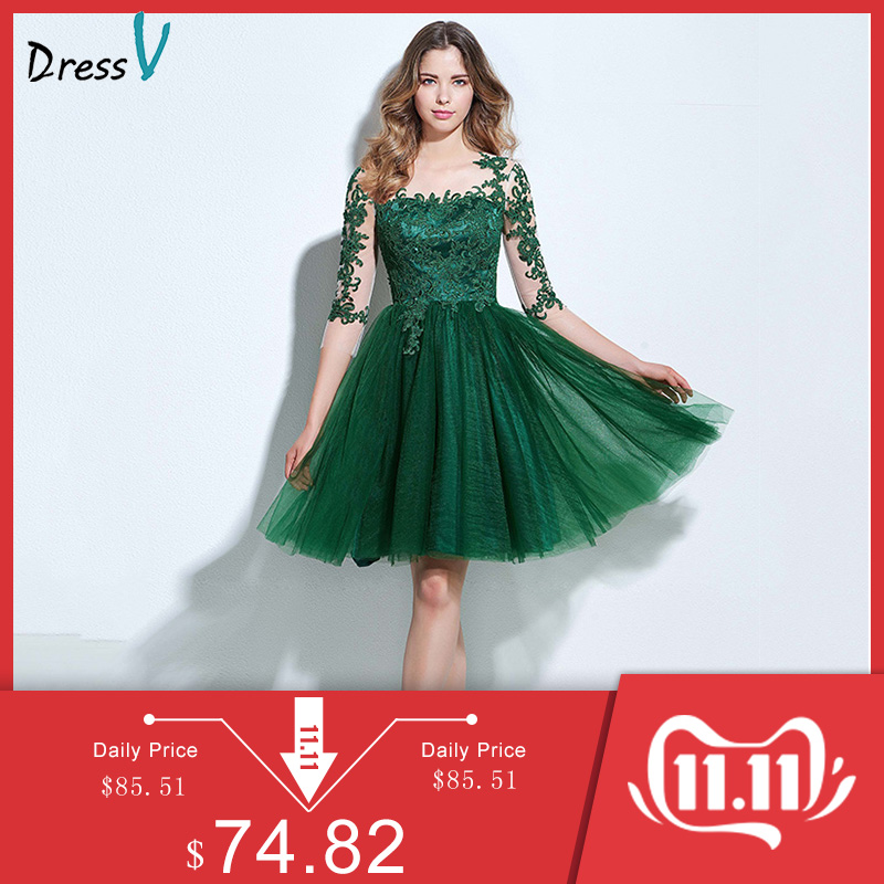 Dressv scoop neck A-line cocktail dress green appliques 3/4 length sleeves button knee-length cocktail dress formal party dress