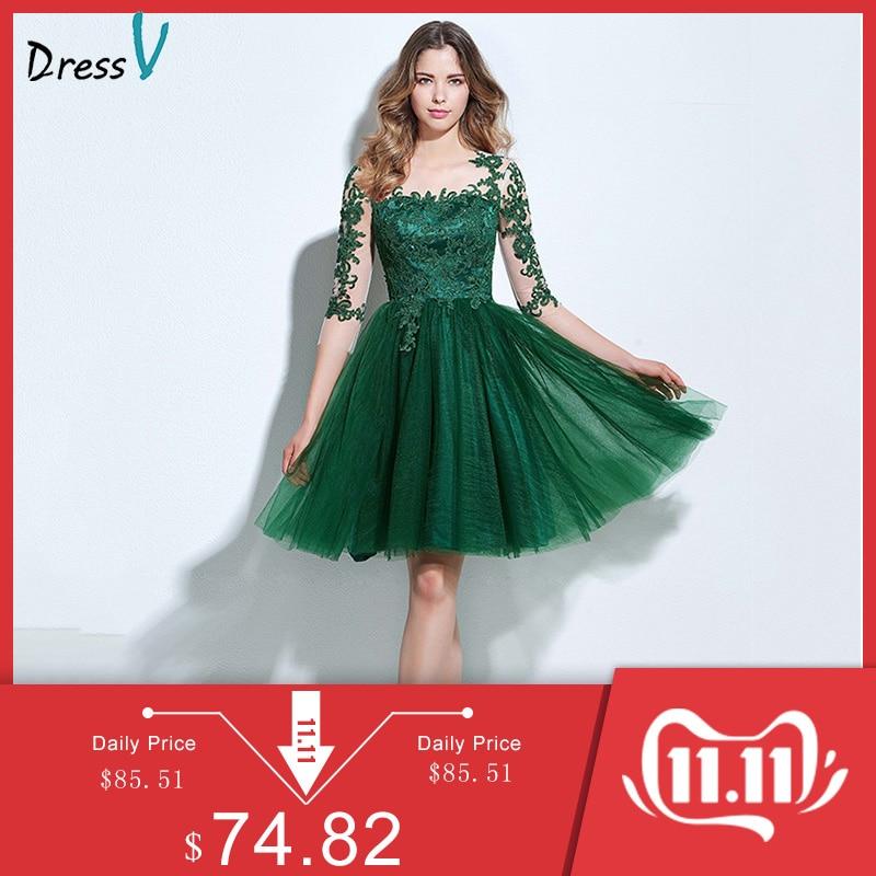 Dressv Scoop Neck A-line Cocktail Dress Green Appliques 3/4 Length Sleeves Button Knee-length Cocktail Dress Formal Party Dress