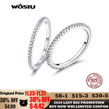 WOSTU 뜨거운 판매 여성을위한 100% 925 스털링 실버 기하학 라운드 지우기 CZ 서클 손가락 반지 약혼 보석 선물 FIR066