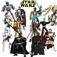 Estrella guerra 9 para armar figura juguete de bloques de construcción Kylo Ren Chewbacca Darth Vader Boba Jango Fett Stormtrooper Compatible bloque regalo